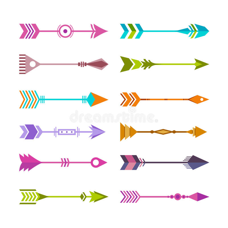 Bunte Stammes- Pfeil-Sammlung vektor abbildung