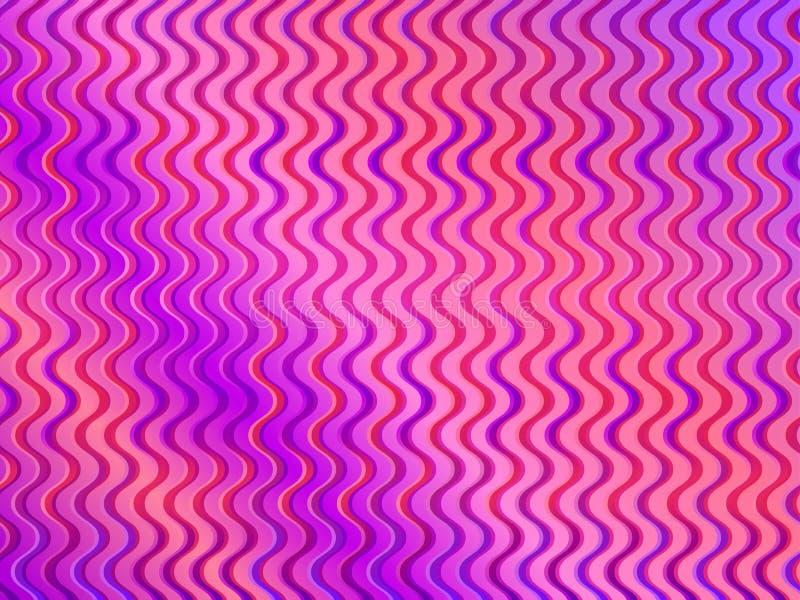 Bunte Steigung mit gewellten Streifen Modischer Plan Violette und rosa Farbe Vektor vektor abbildung