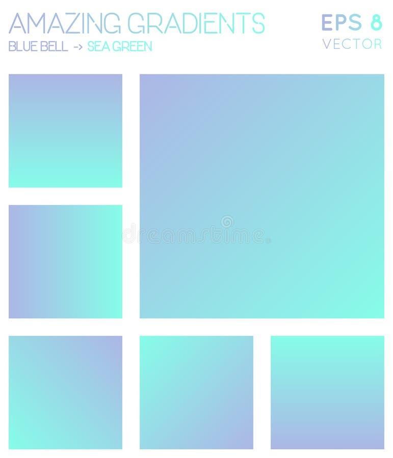 Bunte Steigungen in der blauen Glocke, Meergrünfarbe vektor abbildung