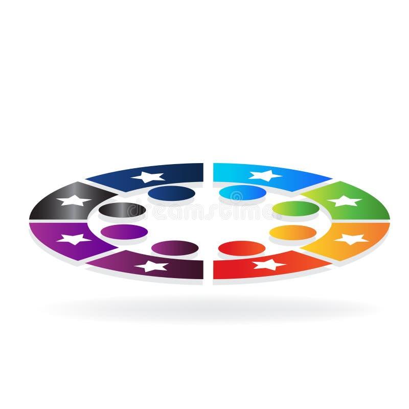 Bunte Sternteamwork des Logos in einer Kreisikone stock abbildung