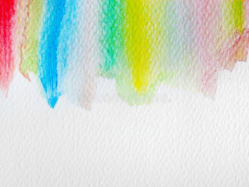 Bunte Streifenaquarellfarbe auf Segeltuch Superhintergrund der hohen Auflösung und der Qualität stock abbildung