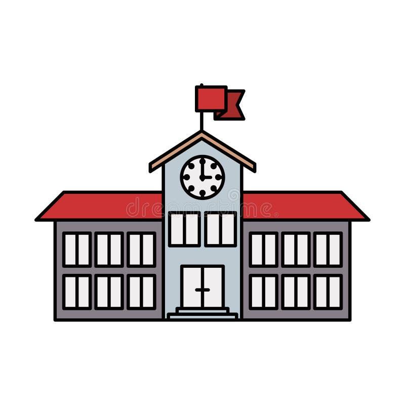 Bunte Struktur High School des Schattenbildbildes mit Uhr und Flagge lizenzfreie abbildung
