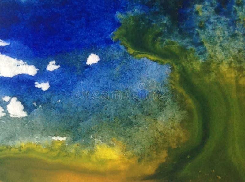 Bunte strukturierte nasse Wäsche des Gelbs des blauen Grüns des Aquarellkunsthintergrundzusammenfassungsspritzens verwischte Stur stock abbildung