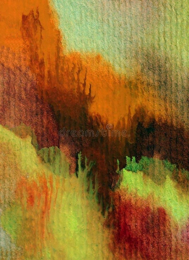 Bunte strukturierte rote warme Anschläge des orange Gelbs des Aquarellkunsthintergrundzusammenfassungsherbstes stockfoto