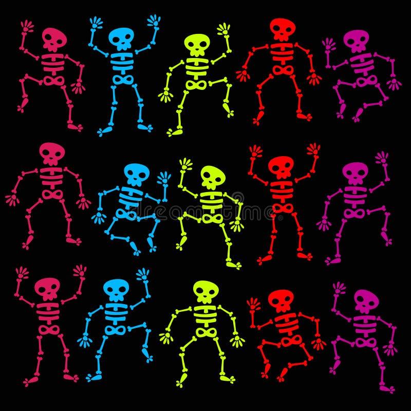 Bunte Tanzen-Skelette lizenzfreie abbildung
