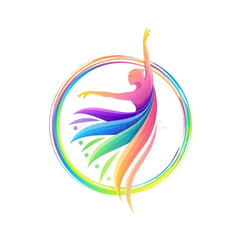 Bunte Tanzzusammenfassungs-Logoschablone lizenzfreie abbildung