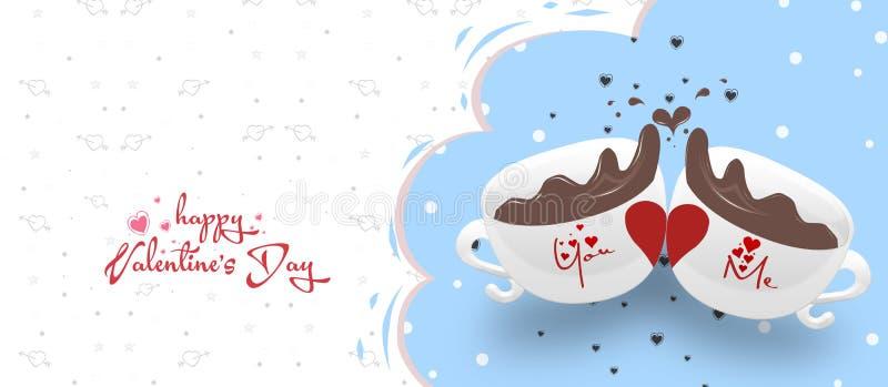 Bunte Teeschalen der Partei mit Herznahaufnahme Postkarte für Valentinsgruß `s Tag Dekoratives Bild einer Flugwesenschwalbe ein B lizenzfreie abbildung
