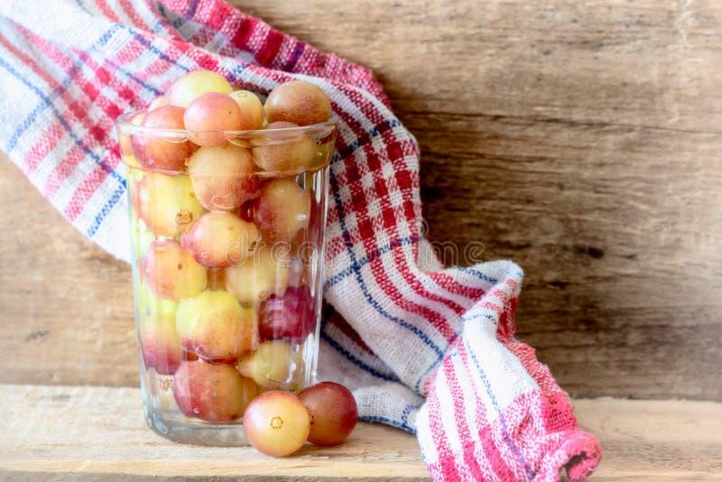 Bunte Trauben in einem Glas Wasser lizenzfreie stockfotografie