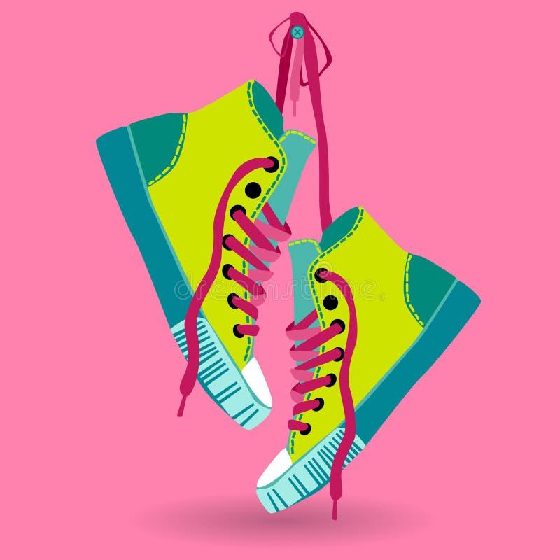 Bunte Turnschuh-Paar-Hang On Lace Training Shoe-Fuß-Abnutzungs-Ikone vektor abbildung