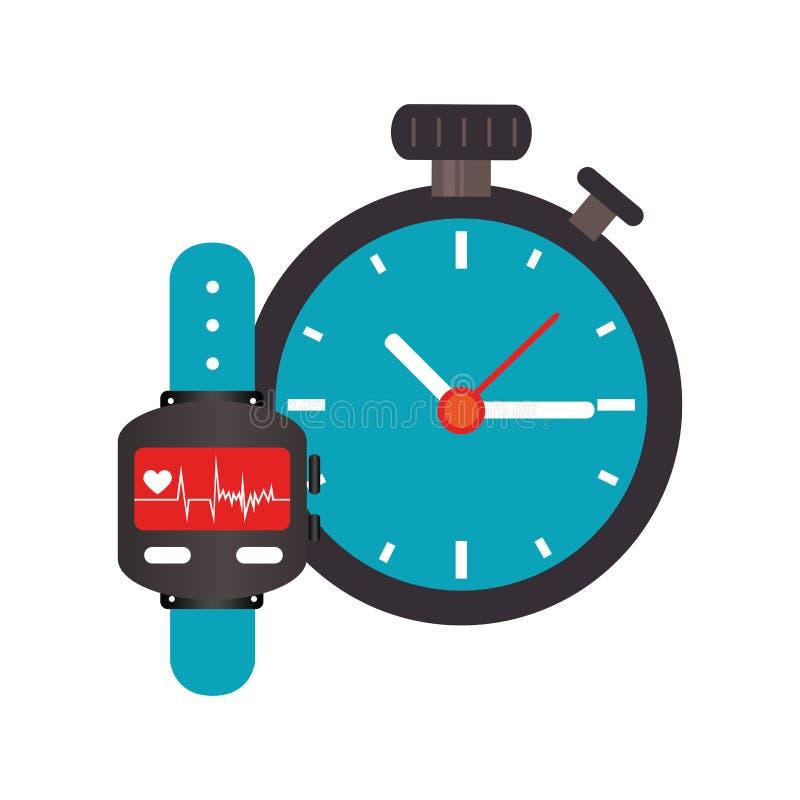 Bunte Uhr mit Schirm Herzschlag-Überwachung und Stoppuhr vektor abbildung