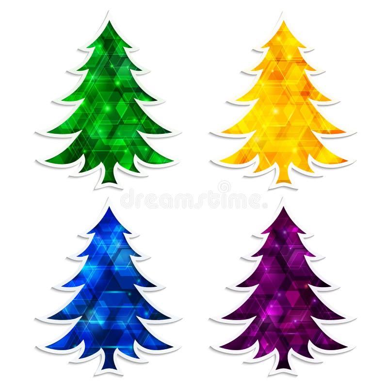 Bunte und glühende Weihnachtsbäume lokalisiert auf weißem Hintergrund lizenzfreie abbildung