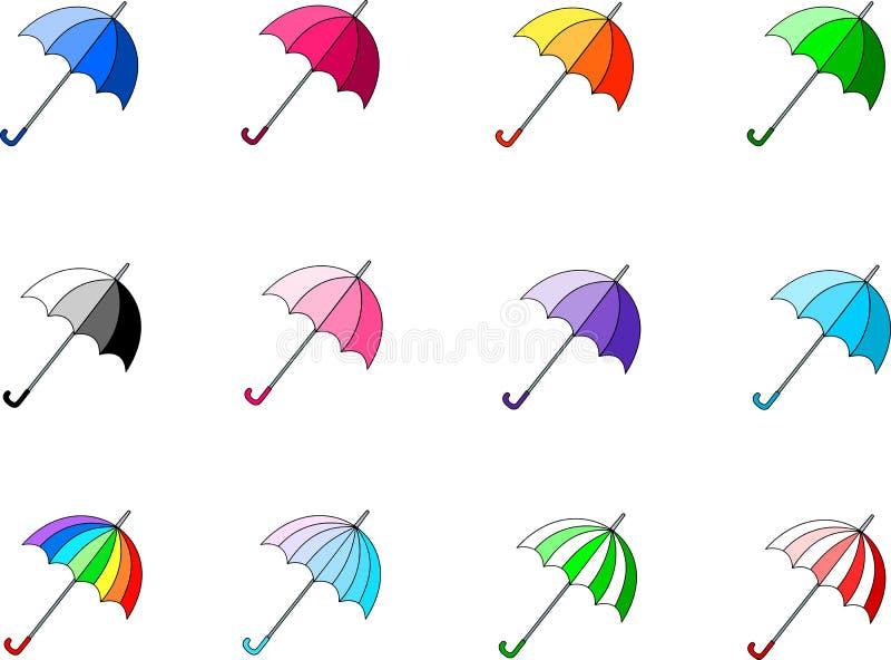 Bunte und helle vektor Regenschirme stock abbildung