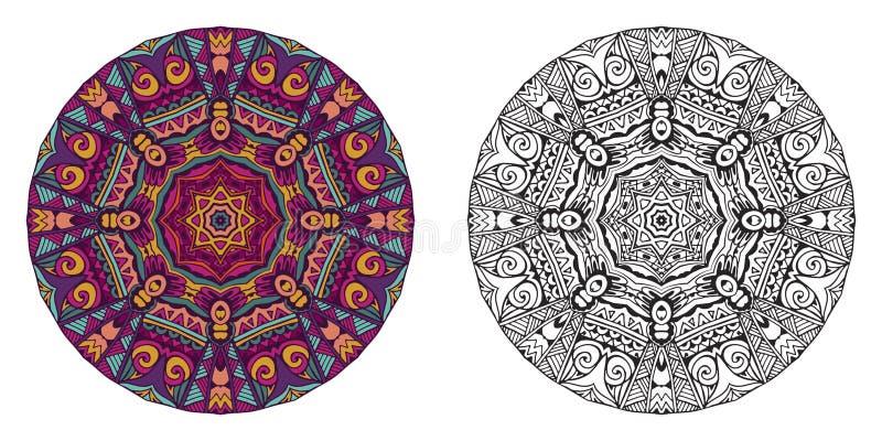 Bunte und Kontur Mandala für Malbuch Ethnische Artverzierungen des dekorativen runden Vektors vektor abbildung