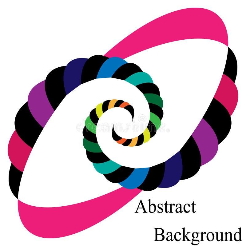 Bunte und schwarze gestreifte Spiralen, die zur Mitte zusammenlaufen Elliptisches Gestaltungselement stock abbildung