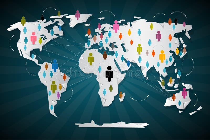 Bunte Vektor-Leute-Ikonen auf Weltkarte stock abbildung