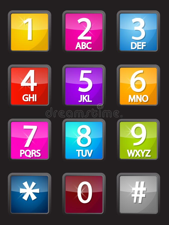 Bunte Vektor-Telefon-Skala Glatte Tasten lizenzfreie abbildung
