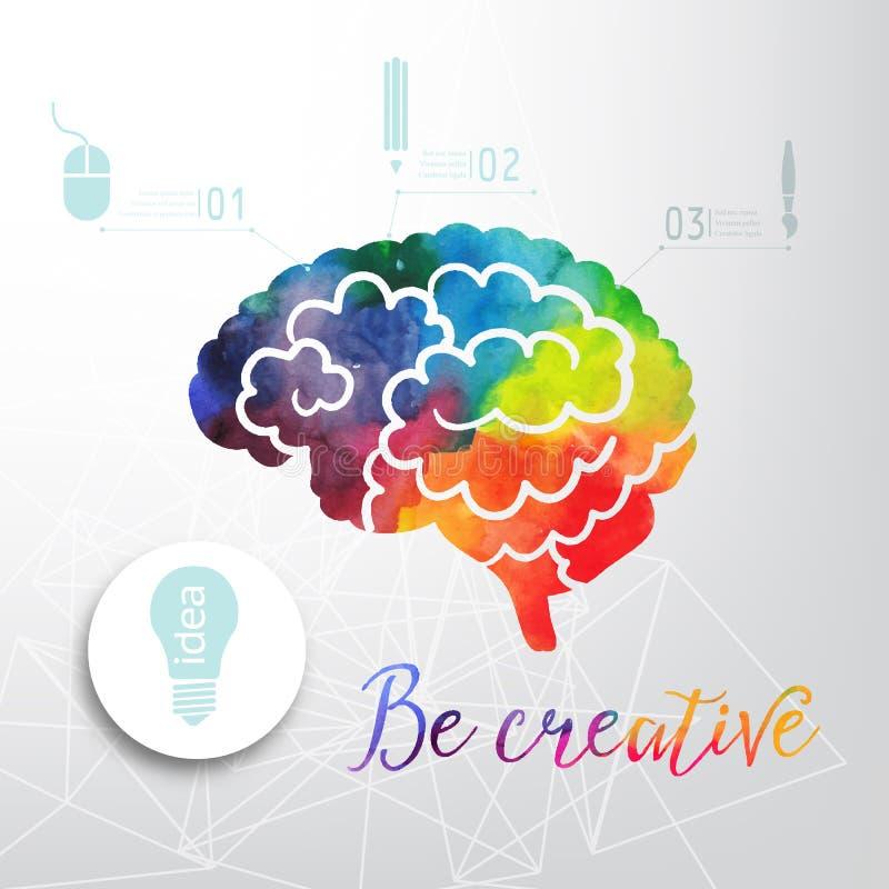 Bunte Vektorgehirnikone, Fahne und Geschäftsikone Kreatives Konzept des Aquarells Vektorkonzept - Kreativität und Gehirn Letterin lizenzfreie abbildung