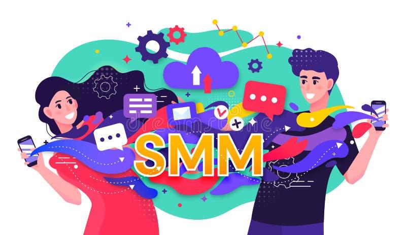Bunte Vektorillustration, die ein SMM-Social Media-Marketing-Konzept mit schnellen Strömen mit zwei dem glücklichen jungen Leuten stock abbildung
