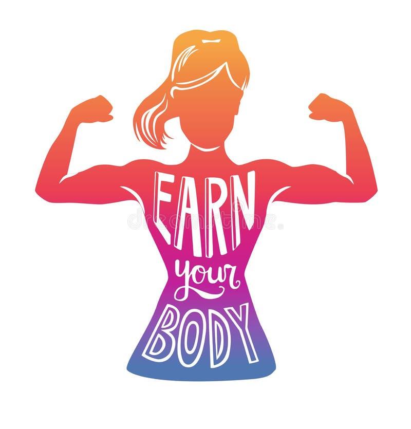 Bunte Vektorillustration erwerben Ihren Körper mit weiblichem Schattenbild stock abbildung