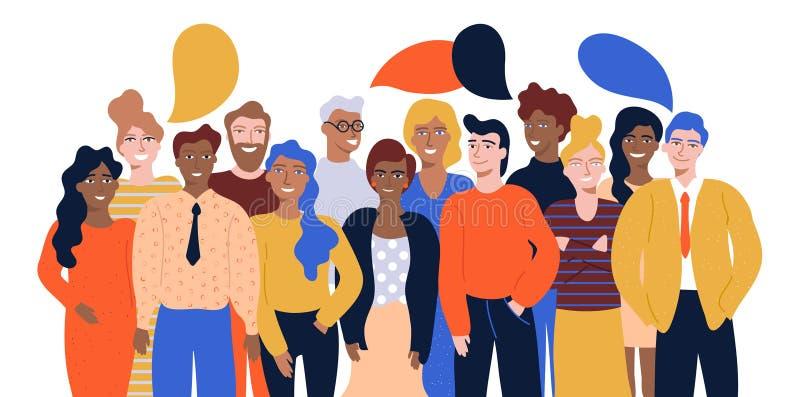 Bunte Vektorillustration im flachen Karikaturart-Gruppenporträt von den lustigen lächelnden Büroangestellten oder Sekretären, die vektor abbildung