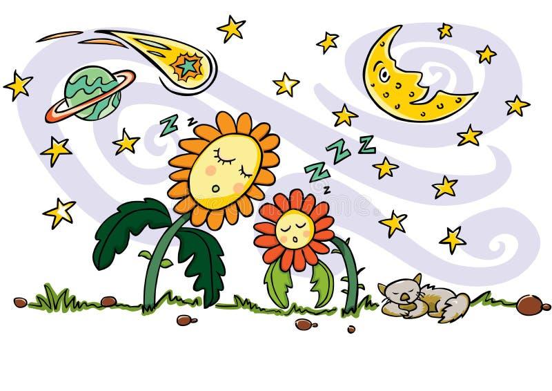 bunte Vektorzeichnung Nette Schlafensonnenblumen, Katze, sichelförmige Mond-, Planeten-, Kometen- und Sternschnuppenelemente stock abbildung