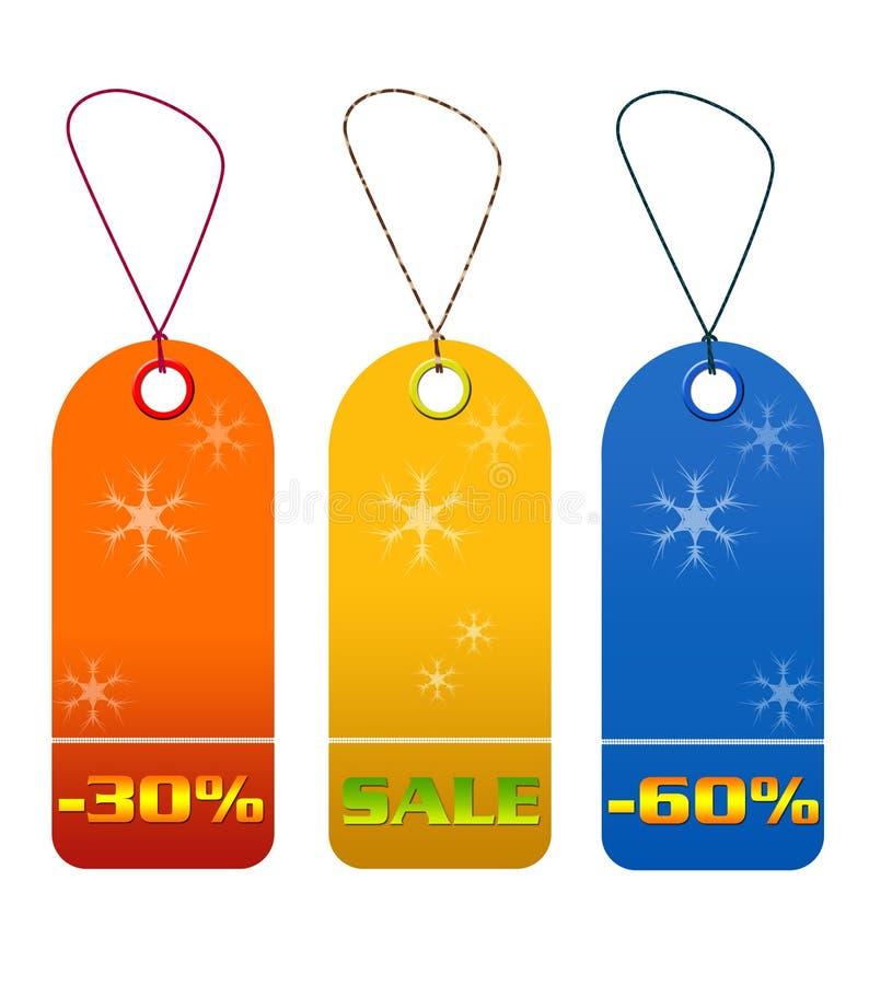 Bunte Verkaufs- und Rabattmarken stock abbildung