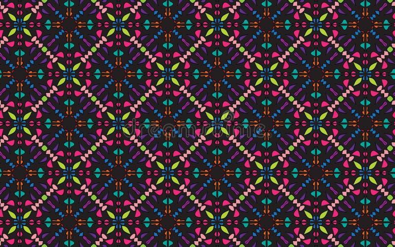 Bunte vier versahen symmetrisches Mandalamuster mit Seiten lizenzfreie abbildung