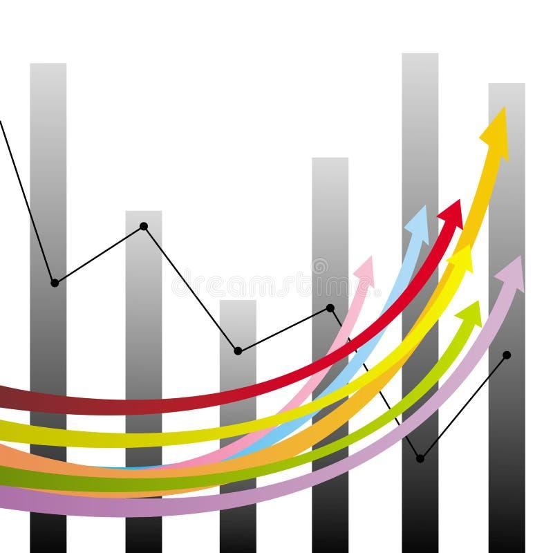 Bunte Wachstumspfeile und -diagramme lizenzfreie abbildung