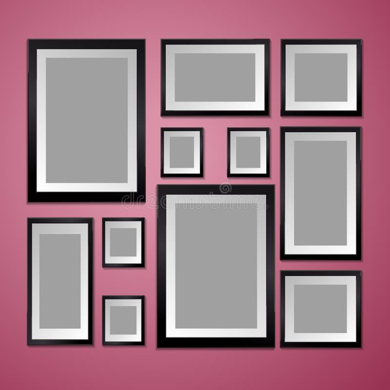 Bunte Wand mit leerem Bilderrahmen stock abbildung