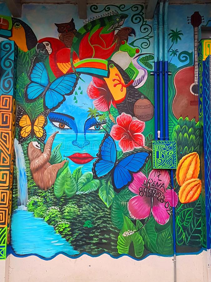 Bunte Wandgemälde, Puerto Viejo lizenzfreies stockbild