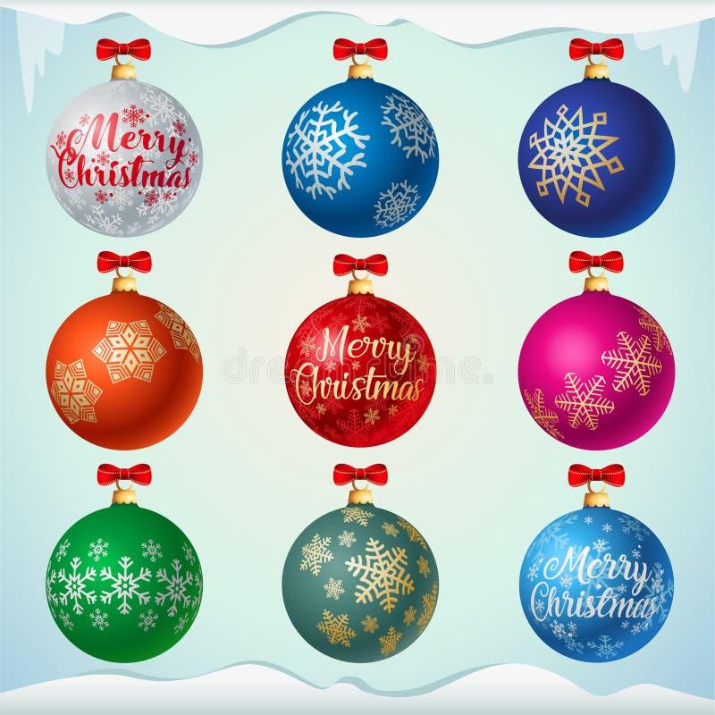 Bunte Weihnachtsbälle Matts mit roten Bögen vektor abbildung