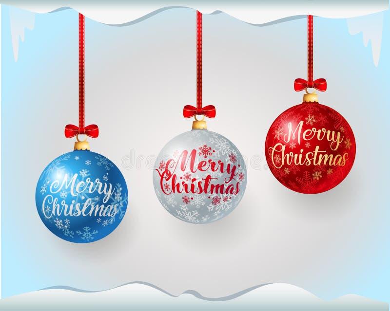 Bunte Weihnachtsbälle mit Grußtext vektor abbildung
