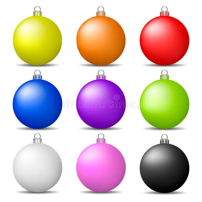 Bunte Weihnachtsbälle stellten lokalisiert auf weißem Hintergrund ein Feiertagsweihnachtsspielzeug für Tannenbaum Vektorabbildung stock abbildung