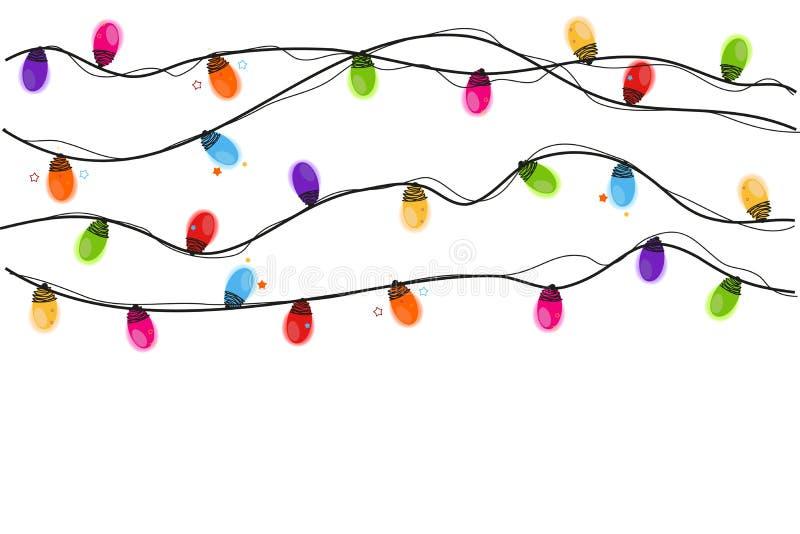 Bunte Weihnachtsglühlampeguten rutsch ins neue jahr-Grußkarte lizenzfreie abbildung
