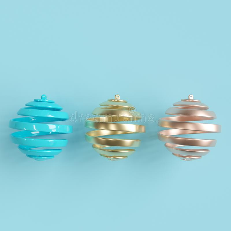 Bunte Weihnachtsverzierungen auf Pastellhintergrund stock abbildung