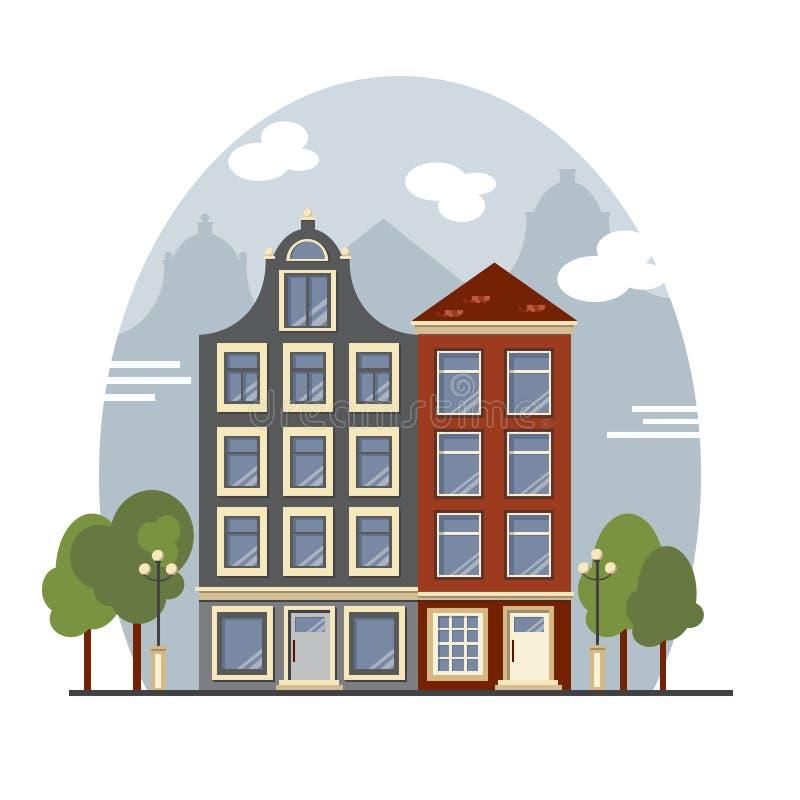 Bunte Weinlese Amsterdam-Häuser Wohnungen für Miete, Verkauf, Real Estate stock abbildung
