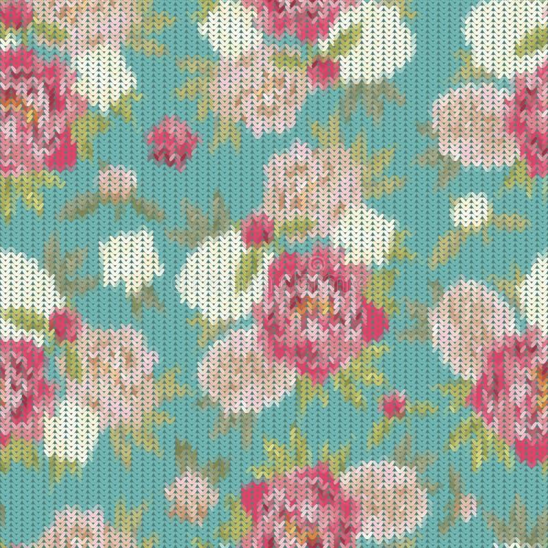 Bunte Weinlese strickte Muster mit der Blumenverzierung, die wie nützlich ist stock abbildung