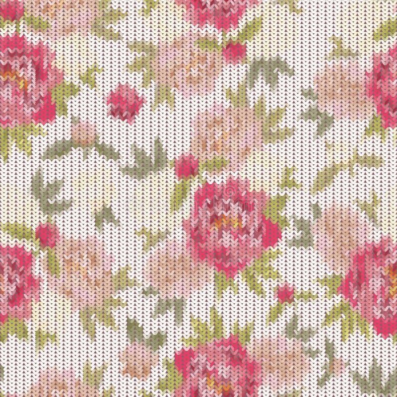 Bunte Weinlese strickte Muster mit der Blumenverzierung, die wie nützlich ist lizenzfreie abbildung