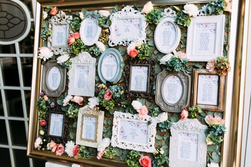 Bunte Weinleserahmen mit der Liste der Hochzeitsgäste stockbild