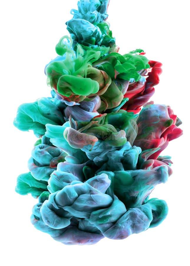 Bunte Wolken Farben fielen unter Wasser Farbtropfen stockfotos