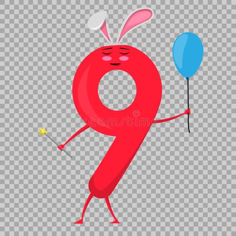 Bunte Zahl des netten Spaßes neun in Form von Zeichentrickfilm-Figuren für Kinder Vektor-Illustrationskinder s stock abbildung