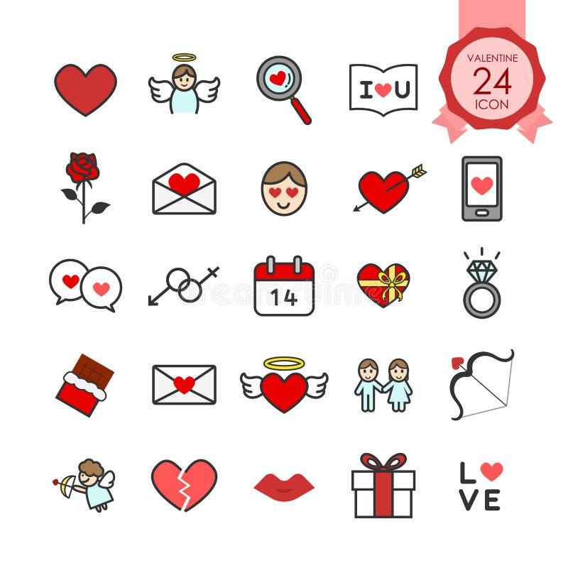 Bunte Zeichen und flache Ikonen der Symbole stellten vom Herzen und von den romantischen Elementen für Valentinsgrußtag ein lizenzfreie abbildung