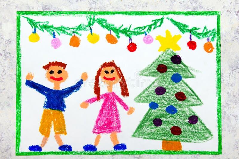 Bunte Zeichnung: Eine Weihnachtszeit, ein lächelndes Paar und Weihnachtsbaum vektor abbildung