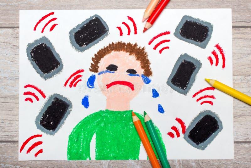 bunte Zeichnung: Schreiender Junge umgeben durch Telefone oder Tabletten lizenzfreie stockbilder