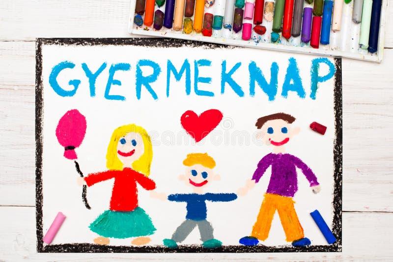 Bunte Zeichnung Ungarische Kind-` s Tageskarte stock abbildung