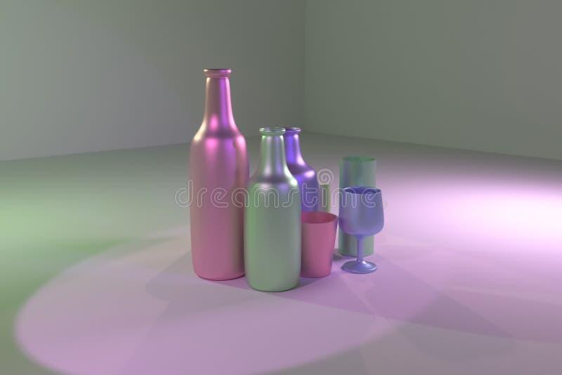 Bunte Zusammenfassung cgi-Zusammensetzung, concepture Stilllebenflasche u. Glas Tapete f?r Grafikdesign 3d ?bertragen lizenzfreie abbildung