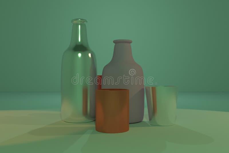 Bunte Zusammenfassung cgi-Zusammensetzung, concepture Stilllebenflasche u. Glas Tapete f?r Grafikdesign 3d ?bertragen stock abbildung