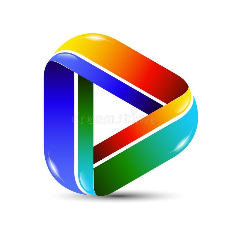 Bunte Zusammenfassungs-Spielikone des Vektors 3D für Logoschablone Musik und Video-Player-Anwendungslogodesign stock abbildung