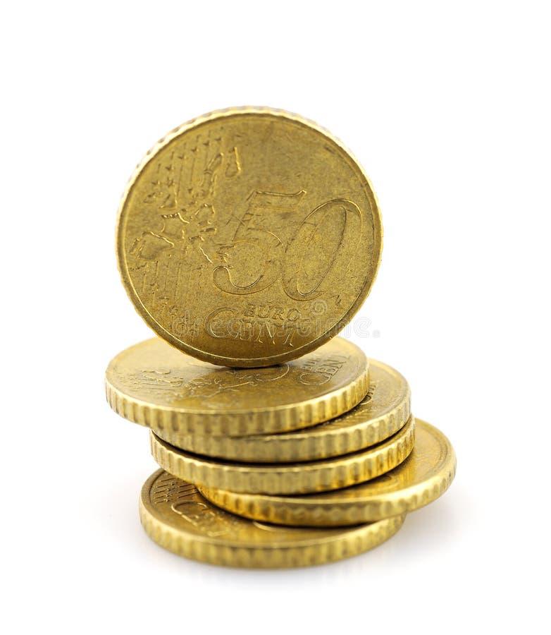 Bunten av euro myntar royaltyfri fotografi