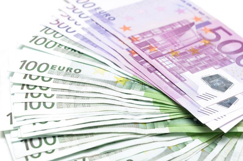 Bunten av pengareuro fakturerar sedlar Eurovaluta från Europa royaltyfri bild